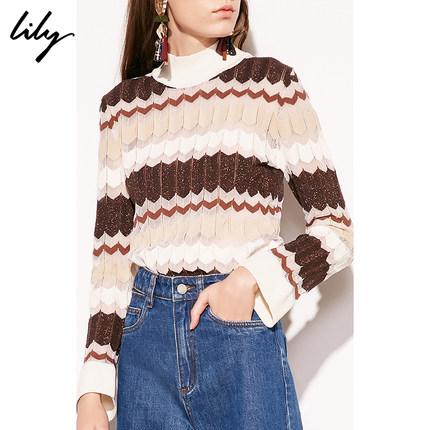Lily2019春新款女装亮丝薄款亮丝面料,薄款针织,微喇袖口打底衫套头针织衫