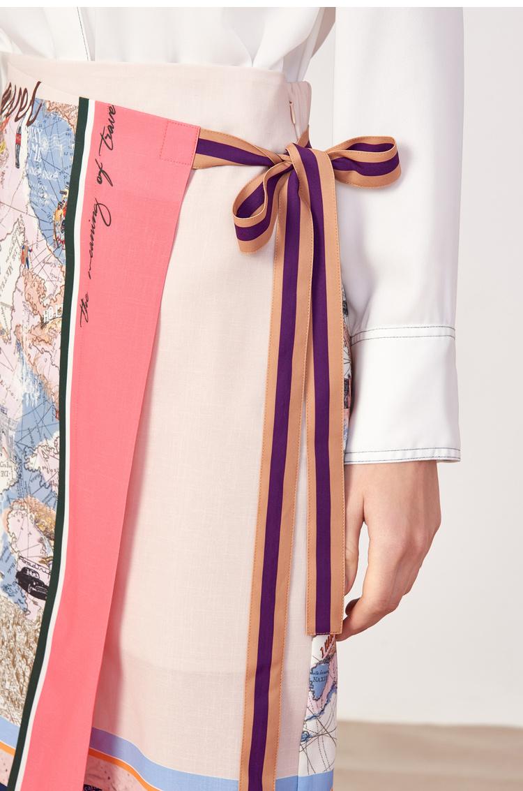 Lily2019春新款女装围裹式,文艺图案,系带设计中长裙半身裙