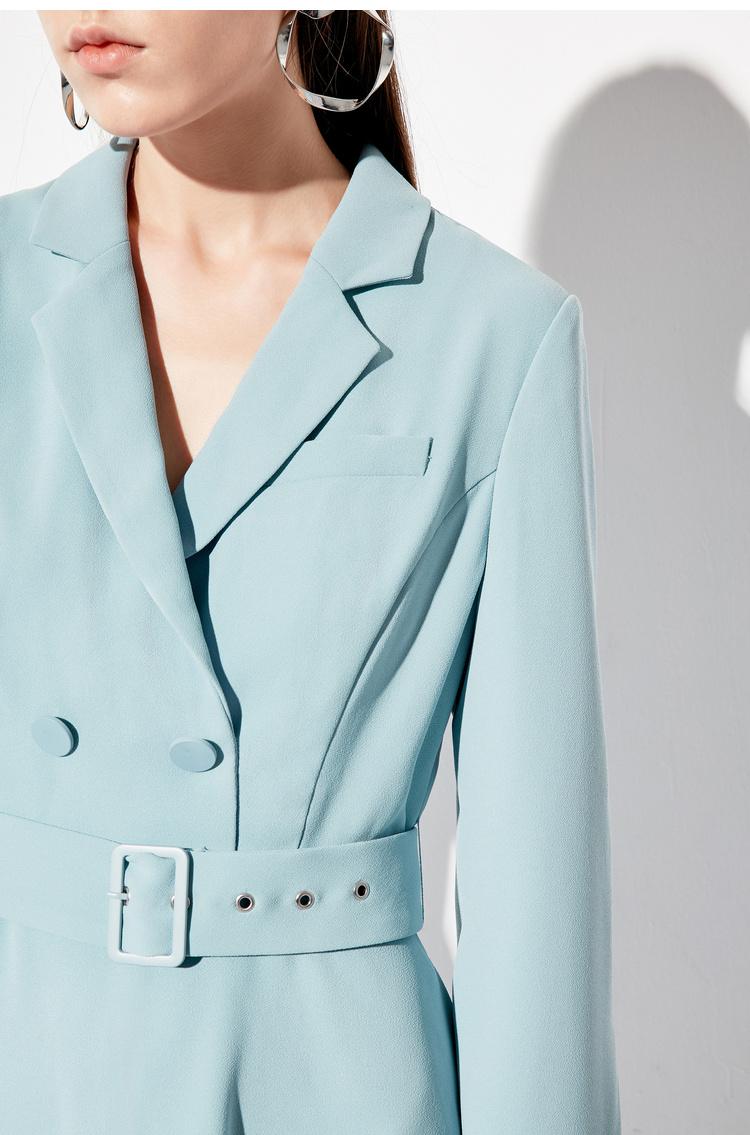 Lily2019春新款女装商务西装领,腰带设计,气质灰蓝长袖连衣裙