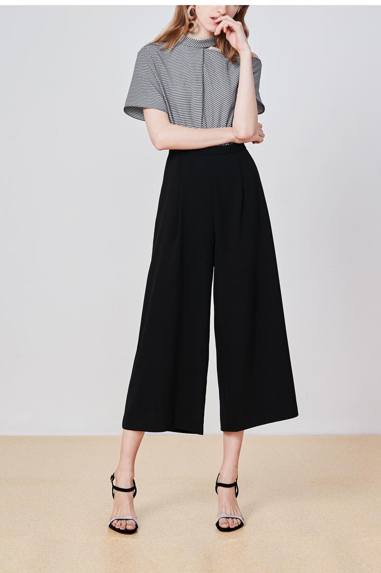 Lily2019夏新款女装连体裤,不对称领口,高腰设计短袖假两件连体裤