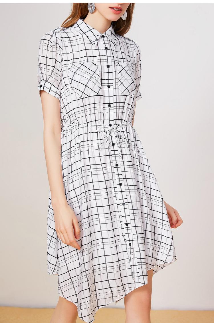 Lily2019夏新款女装收腰版型黑白格子下摆短袖衬衫裙连衣裙