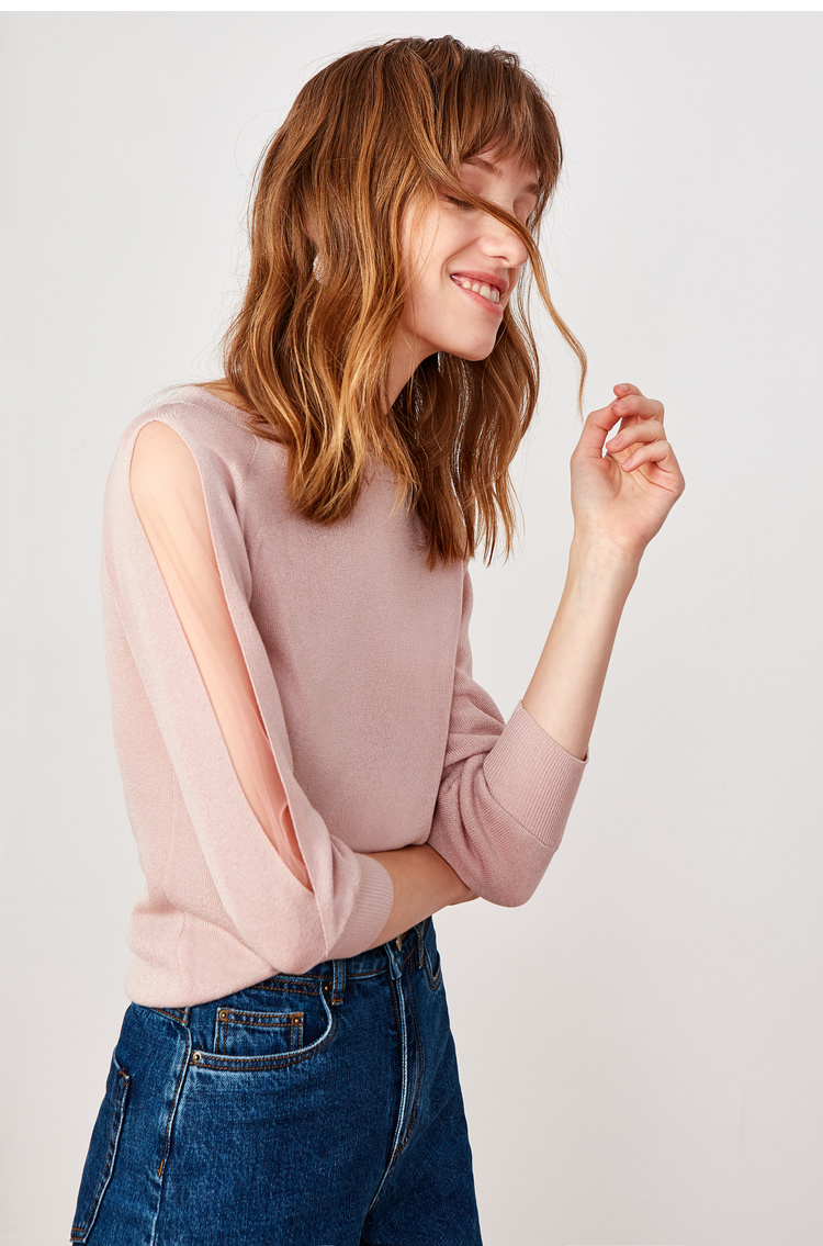 Lily2019春新款女装插肩袖,轻薄面料,下摆收口长袖套头针织衫