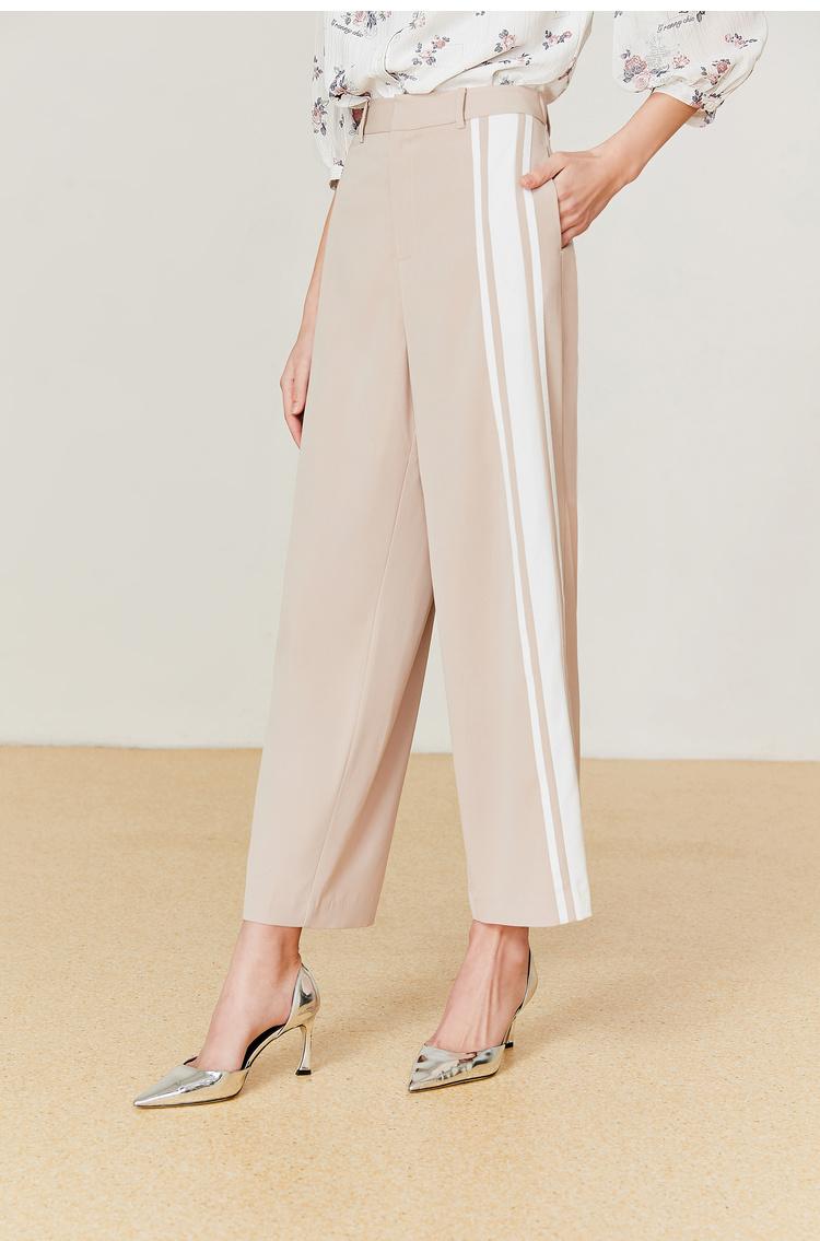 Lily2019夏新款女装商务感条纹休闲直筒修身阔腿裤