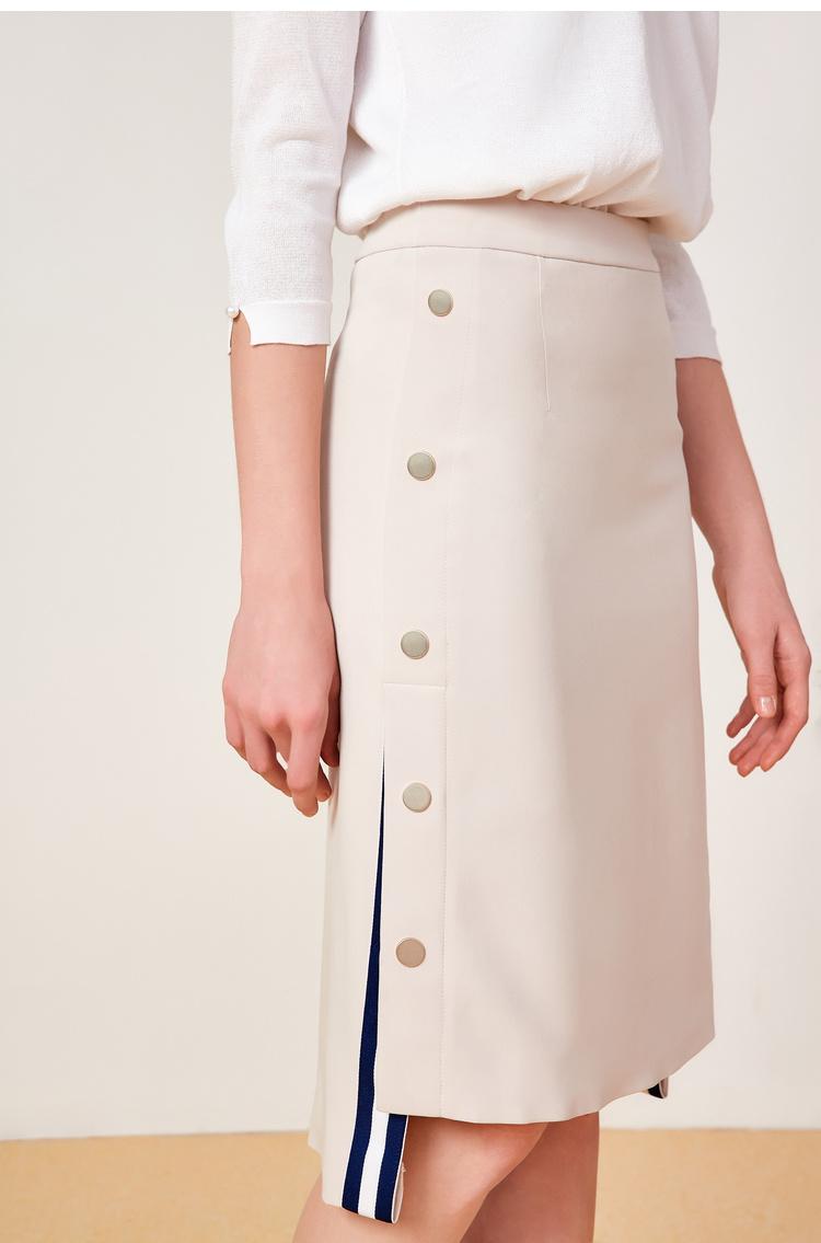 Lily2019夏新款女装收身版型,金属扣装饰,撞色织带中长款西装裙半身裙