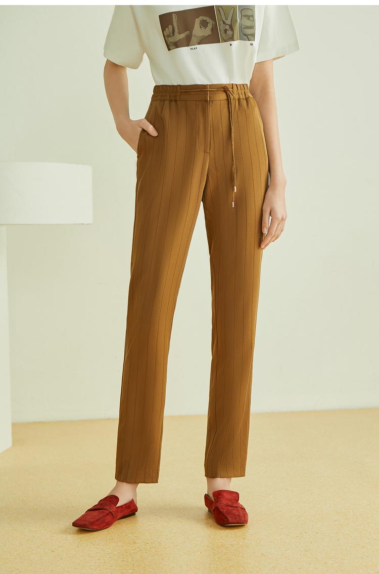 Lily2019夏新款直筒裤,松紧腰,系带造型西裤女休闲裤