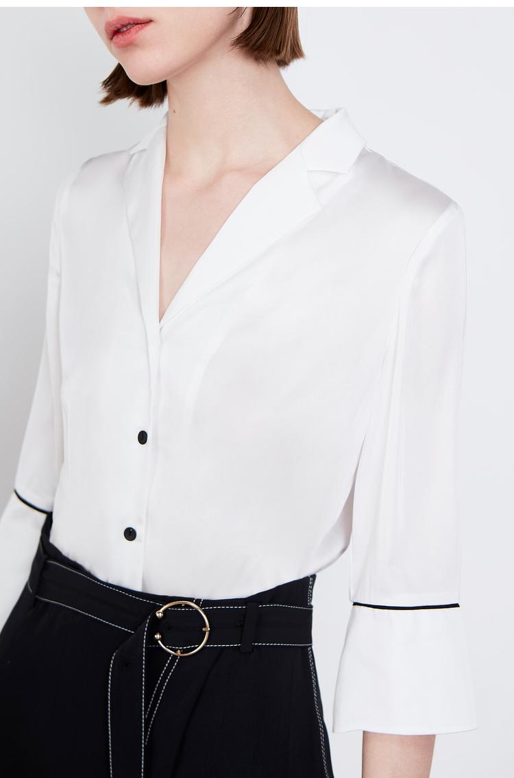 Lily2019夏新款女装气质假两件,西装领,不对称裙摆衬衫裙连衣裙