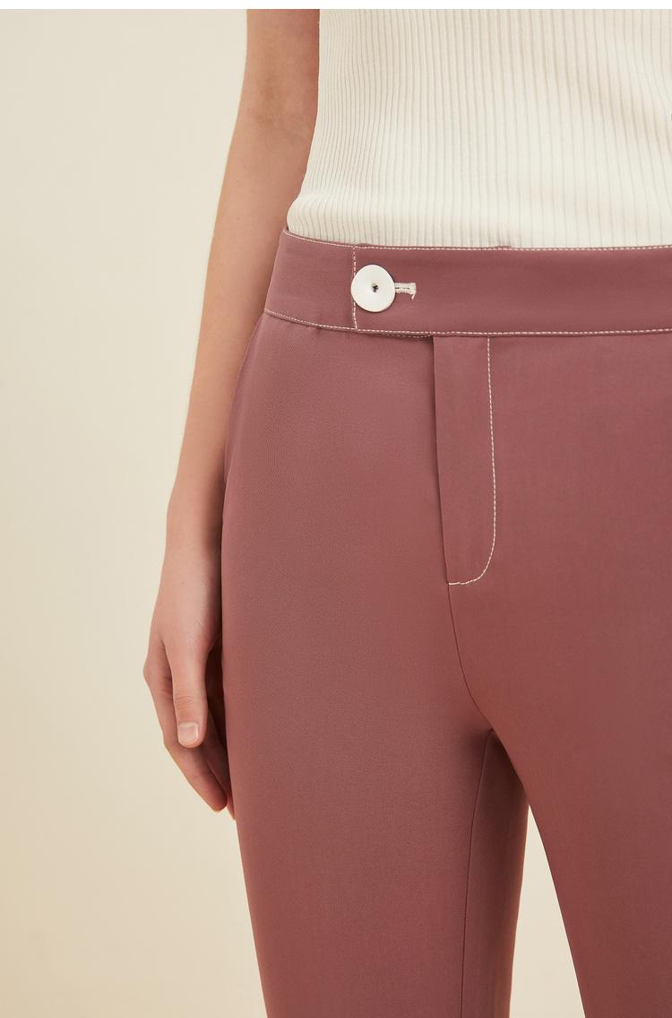 Lily2019夏新款女装直筒裤,西装裤,撞色纽扣通勤西装裤