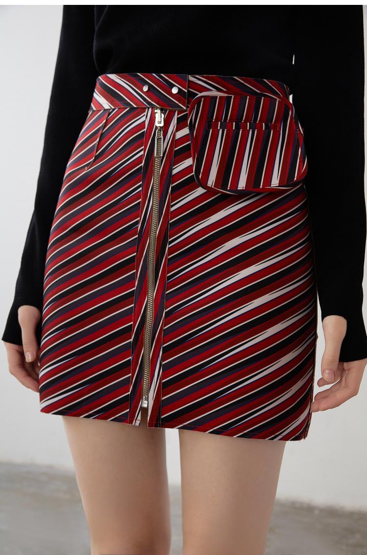 Lily2019春新款女装商务双面穿,A型轮廓,精致拉链A字短裙半身裙