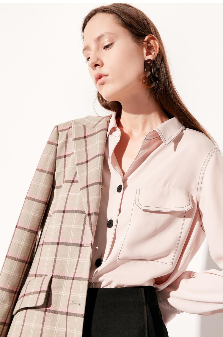 Lily2019春新款女装配送腰带,气质格纹,通勤西装H型西装外套