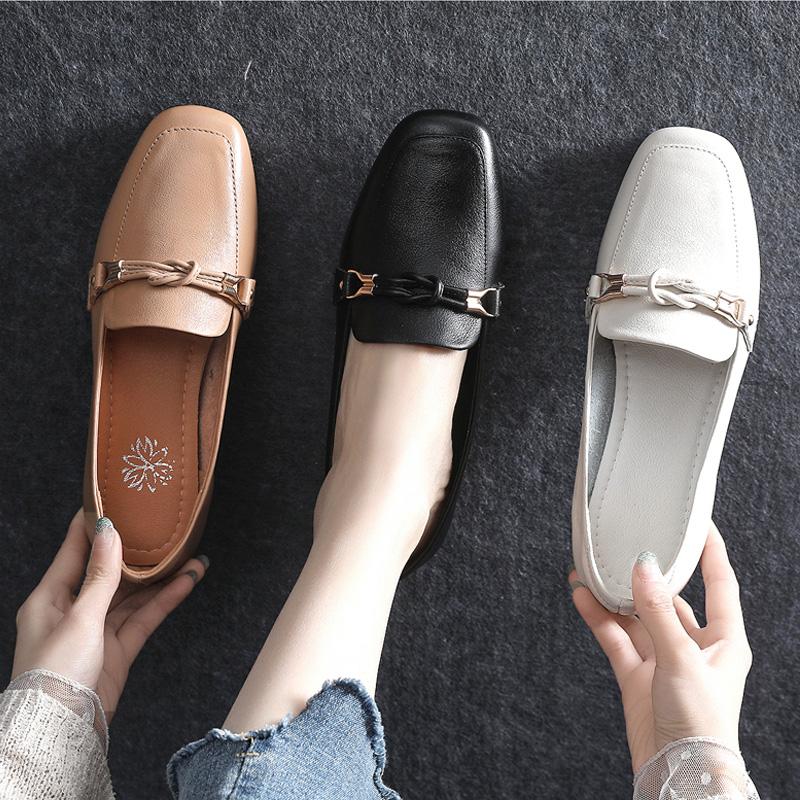 单鞋女2020春季新款小皮鞋小跟真皮软底软皮大码女鞋41一43妈妈鞋,免费领取20元淘宝优惠卷