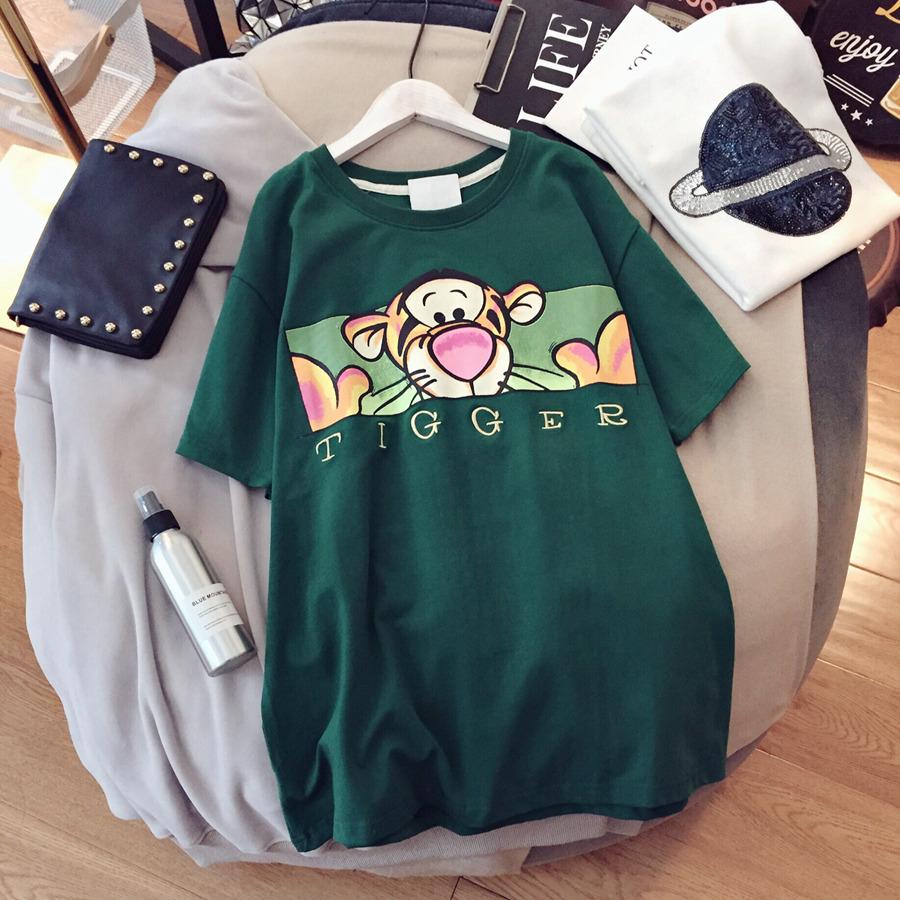 新品字母韩版学院风卡通印花短袖夏装打底T恤女刺绣衫TEE上衣
