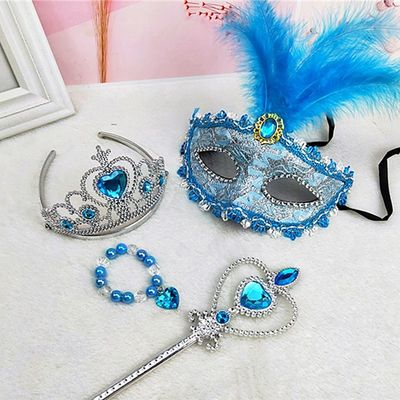 Children's performance supplies Ice Queen Set Little Princess Magic Wand Crown Accessories Girls Mask Gift