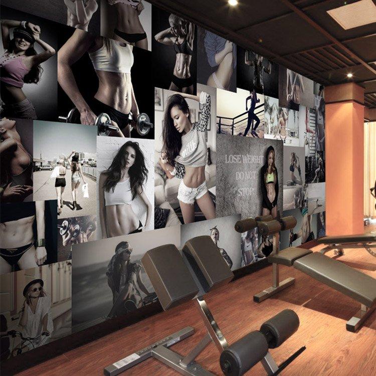 DIY个性定做定制健身房美女背景墙纸大型无缝壁画ktv酒店主题墙布