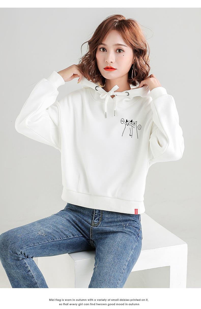 米子旗短版卫衣女春秋薄款女装新款韩版连帽高腰白色上衣外套详细照片
