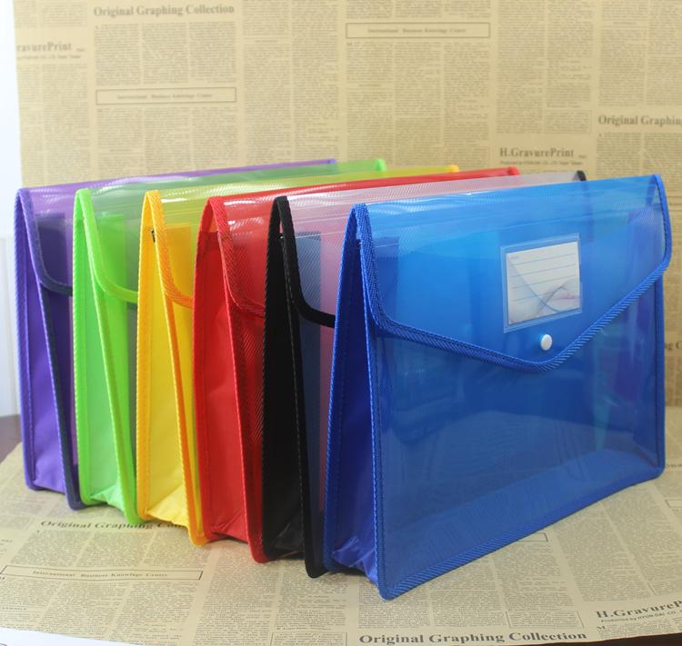 Document bag Large A4 paper document storage button bag Student book paper classification bag Large capacity information bag Transparent