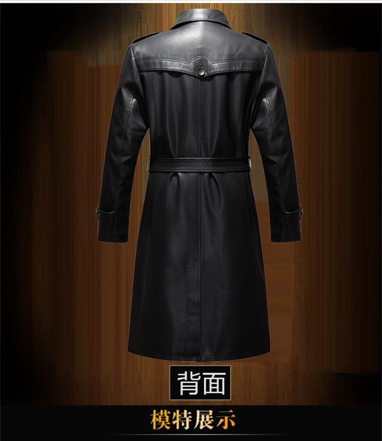 2018 mùa thu và mùa đông mới Haining phù hợp với cổ áo đầu gối dài nam da cộng với nhung kích thước lớn da áo gió áo khoác da