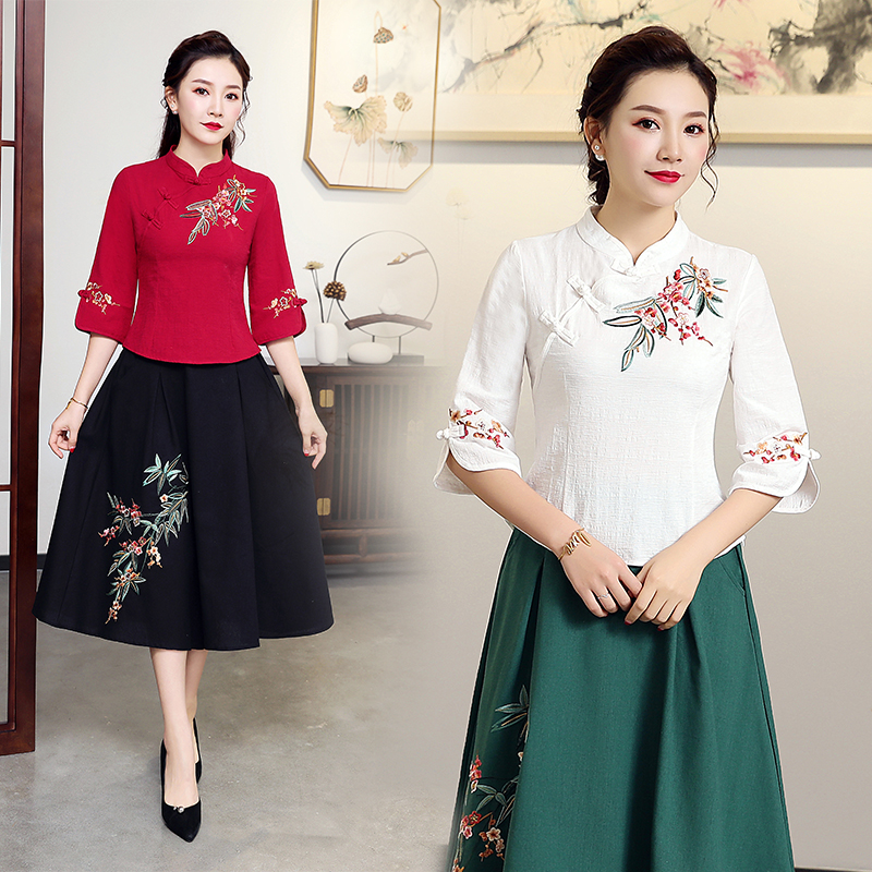 Mùa xuân 2019 mới kiểu dáng Trung Quốc cổ áo đứng Trung Quốc phong cách cotton và vải lanh thêu áo kiểu quốc gia retro áo sơ mi nữ mỏng - Áo sơ mi