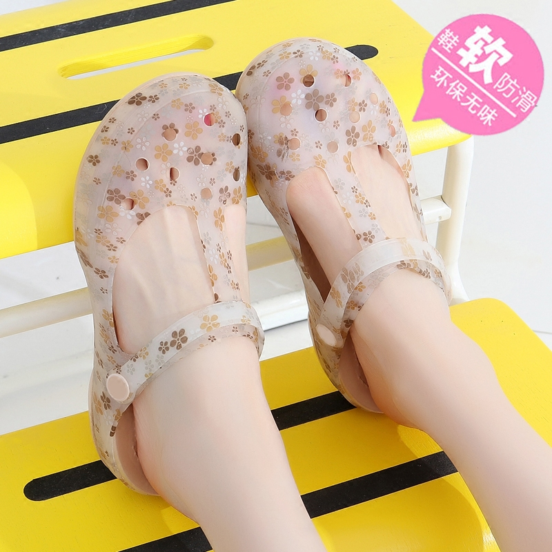 f0ecadbc087d 2018 new printing hole shoes jelly shoes women s shoes beach shoes thick  bottom large sandals plastic shoes slippers women