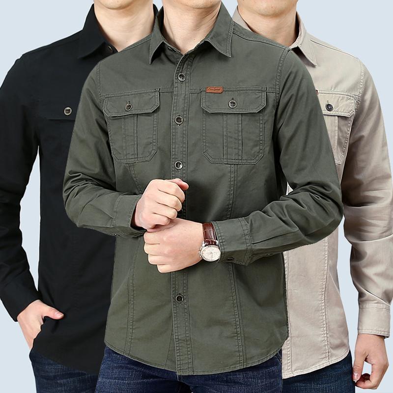 吉普盾 春季纯棉工装休闲衬衫