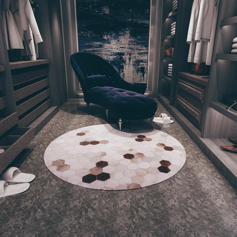 欧式圆形地毯拼接床边毯ins地毯牛皮房间小地毯儿童卧室定制公主