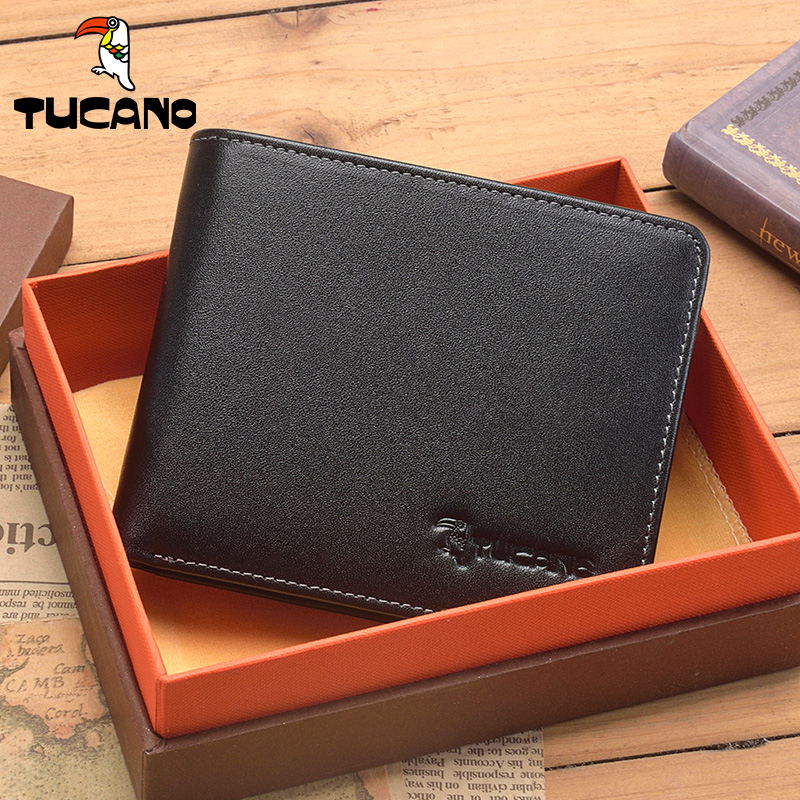 d767b7ab8de1 Woodpecker men s wallet short leather genuine cross section European and  American fashion first layer leather wallet driver s license male