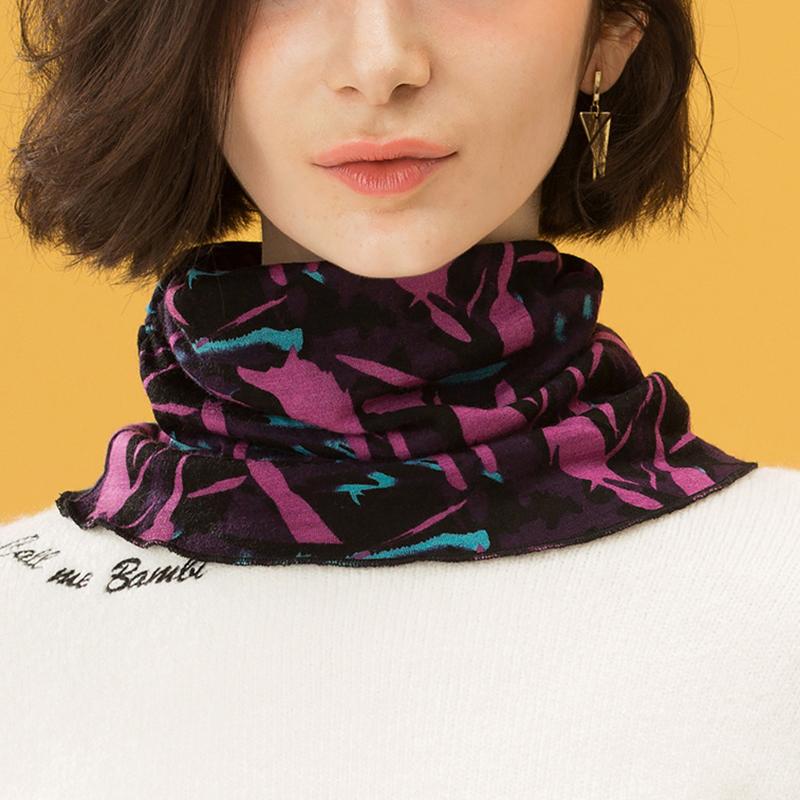 羊毛围脖女韩版百搭双层保暖护颈椎脖套秋冬季针织假领子套头围巾