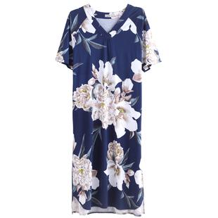 达尔丽新品睡裙女夏短袖中长款过膝宽松睡衣