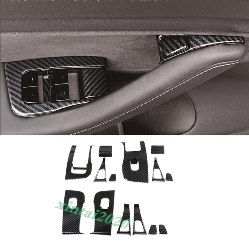 Carbon Fiber Interior Door Lock Opener Switch Cover Trim For Tesla Model 3 2018+