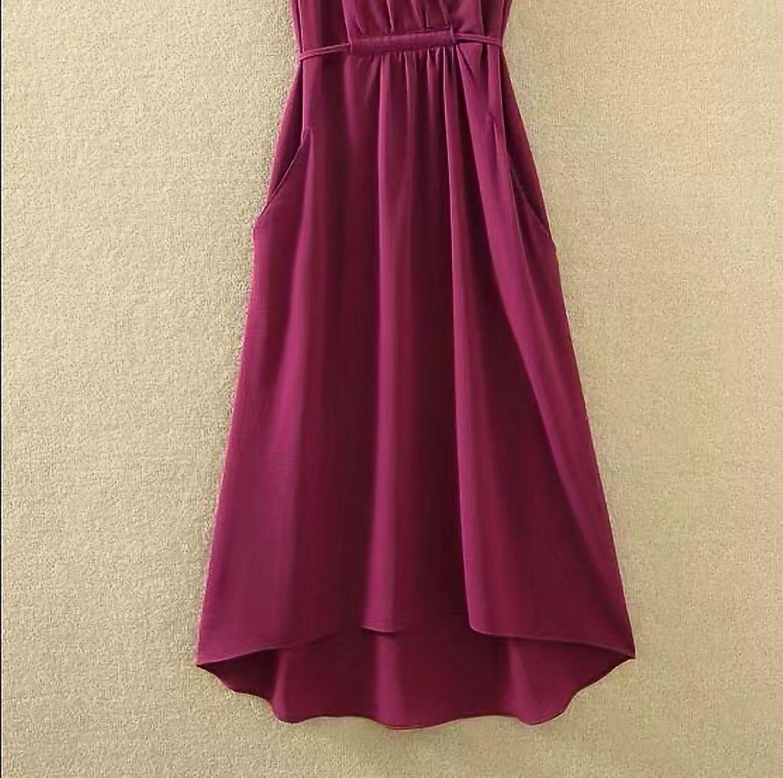 夏季纯色v领大码显瘦雪纺中长裙 18