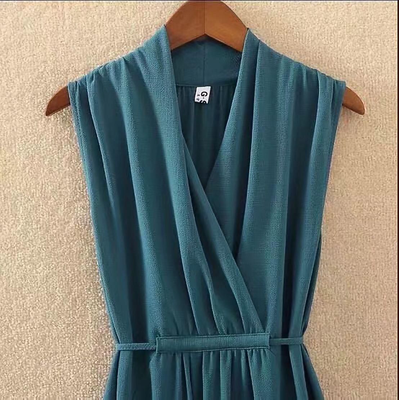 夏季纯色v领大码显瘦雪纺中长裙 19
