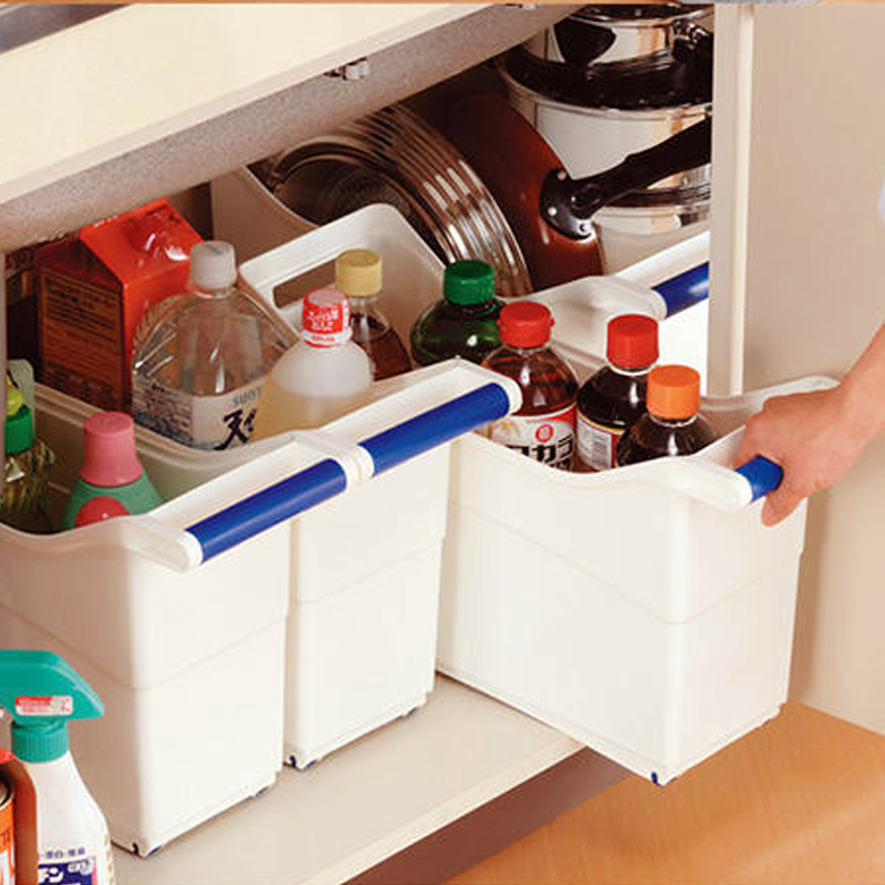 百露带手柄厨房收纳箱水槽橱柜收纳盒子厨房用品用具整理箱塑料