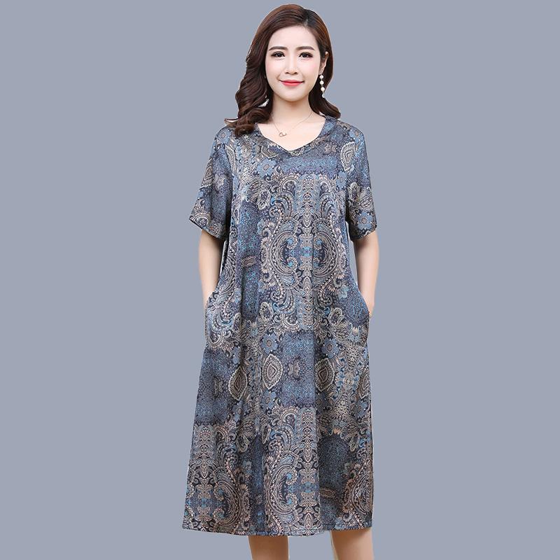 200斤妈妈夏装连衣裙2019新款加肥加大码中老年女装夏款短袖裙子