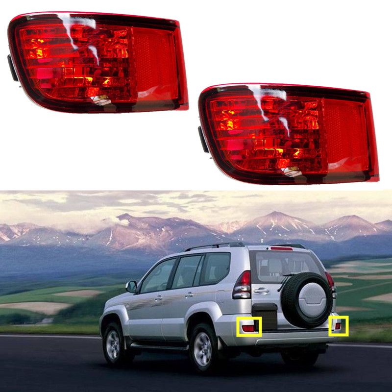 Details about 2PCS Red Rear Fog Lamp For Toyota Prado 2003-2009 LC120 FJ120  TRJ120 GRJ120 2700