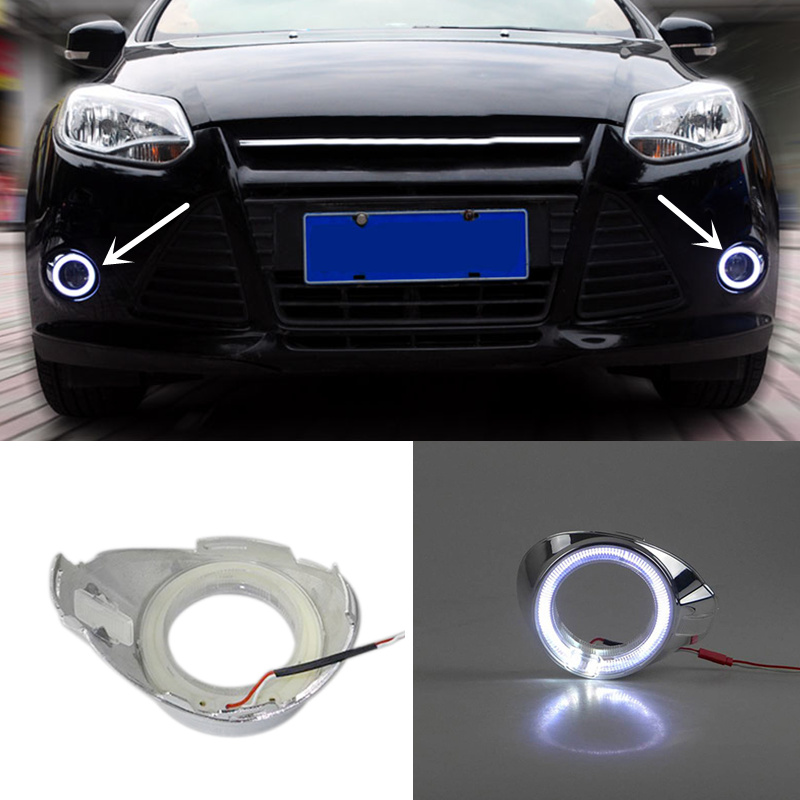 White Front Fog Lights Angel eyes Lamp+Cover Grille Set For Ford Fiesta 13-15 A7