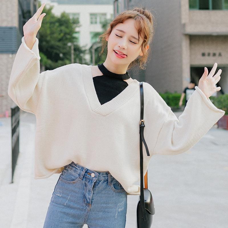 秋冬女装2017新款韩版宽松复古拼色套头毛衣学生长袖针织衫上衣潮