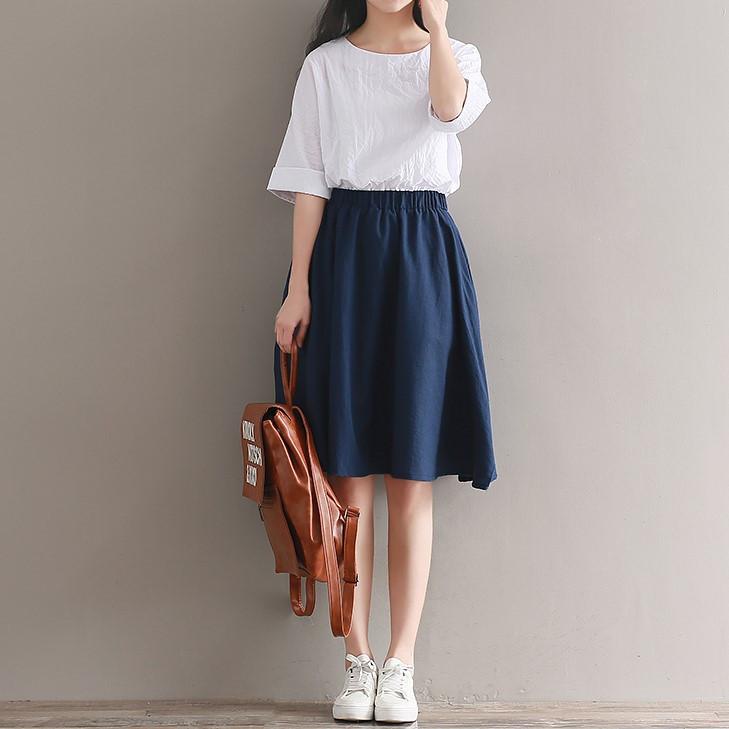 安璃森林/匆匆那年/文艺风棉麻松紧腰拼接假两件短袖小清新连衣裙
