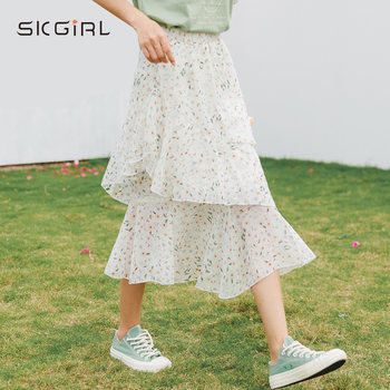 A word early spring floral summer skirts little cakes in the long section of small fresh white chiffon elastic waist