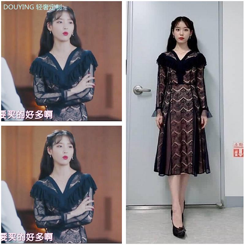 德鲁纳蕾丝iu李智恩同款黑色酒店连衣裙女秋季法式复古网纱长袖裙