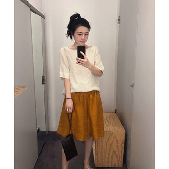 SALE 19 summer new cos hot dirty orange pure linen suit short sleeve shorts women comfortable cool