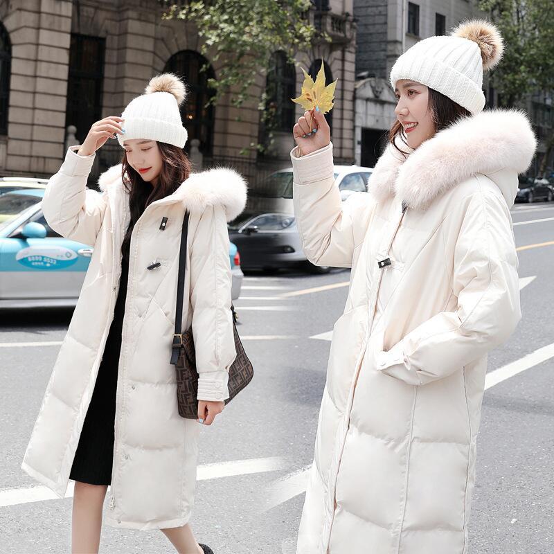 2020冬季新款羽绒服女气质韩版加厚宽松外套中长款白鸭绒保暖外套