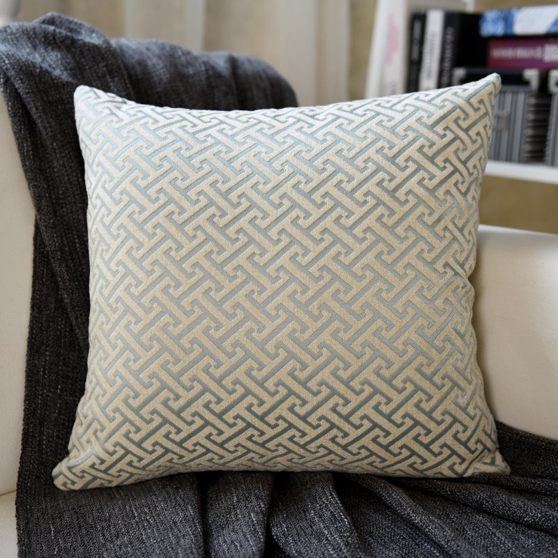 Blue I-shaped Pillow (Chinell Jacquard)
