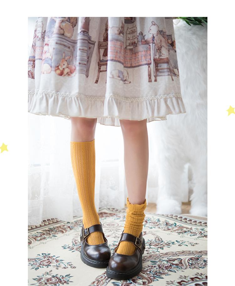 春夏薄款泡泡袜日系中筒袜小腿袜復古风麻花短袜学生袜女详细照片