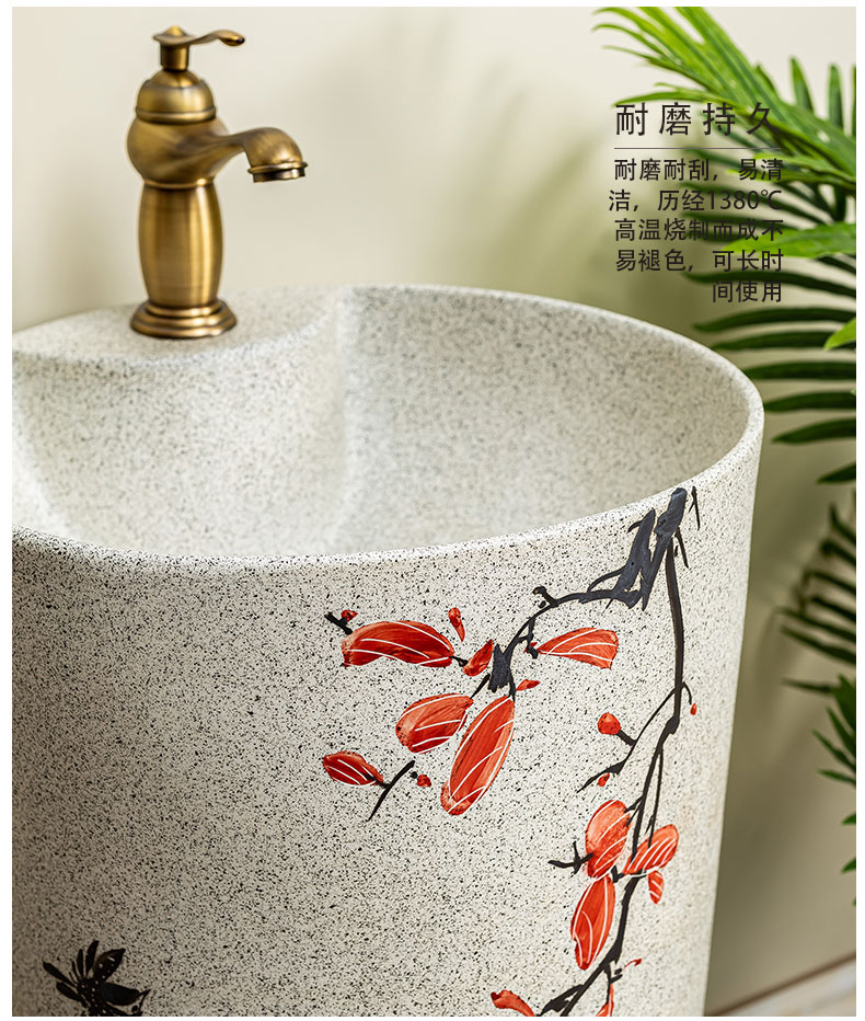 Pillar lavabo courtyard pool floor integrated basin balcony column basin ceramic lavatory toilet 10