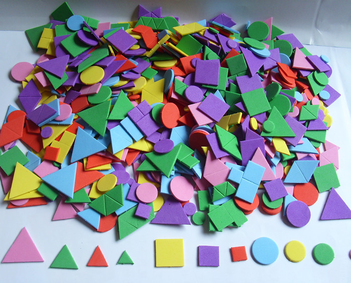 1000片裝兒童手工制作形狀 馬賽克貼畫材料 eva幾何圖形泡沫貼紙