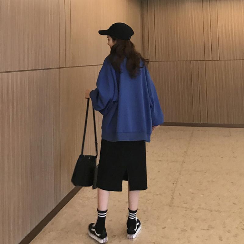 网红套装女2019新款韩版宽松长袖卫衣+半身裙中长款裙子两件套潮