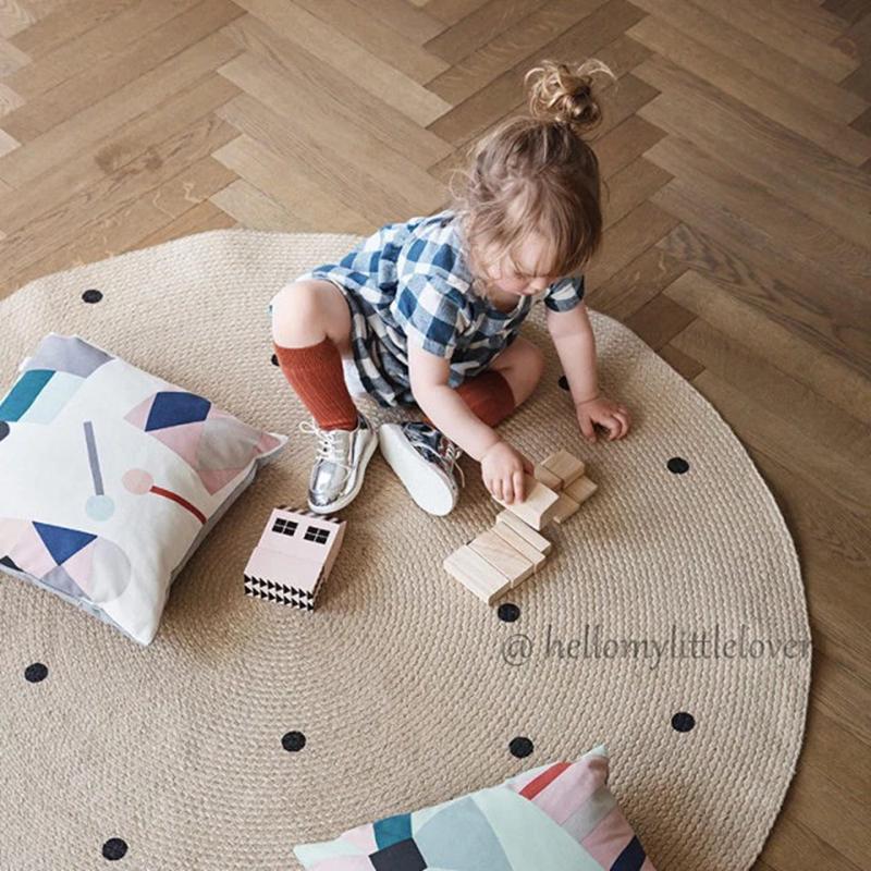 INS tùy chỉnh độc quyền Bắc Âu cùng phong cách lanh tròn mô hình hình học phòng trẻ em thảm phòng nổi tiếng - Thảm