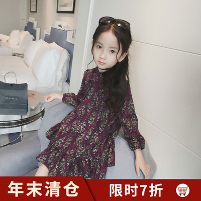 Girls plus velvet one-piece dress Kids in winter large lotus winter long sleeve padded princess dress Children's autumn and winter skirt