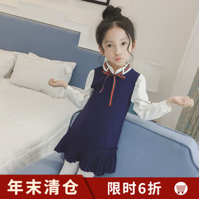Girls fall dress 2017 new children's clothing in the large child navy wind Pleated a word skirt children long-sleeved skirt