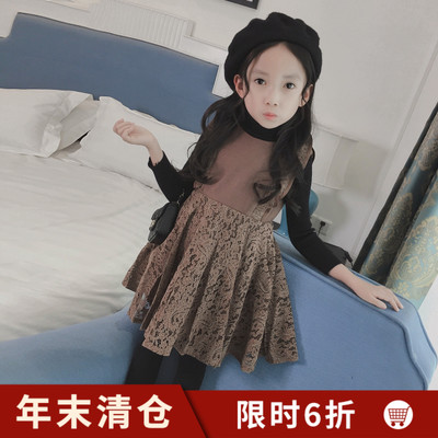 Girls lace vest skirt autumn and winter children's clothing girl skirt Korean fashion princess dress children winter dress