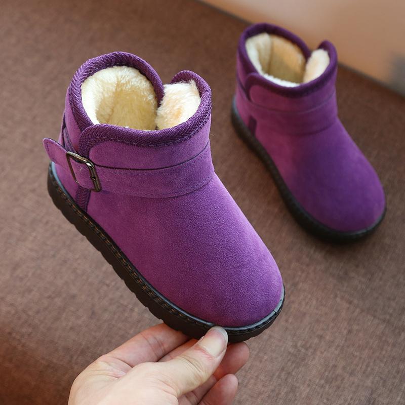 Детские ботинки с утеплением на девочку 2018 новая коллекция ботинки зимний детские угги замшевый на мальчика водонепроницаемый Зимняя обувь сапоги